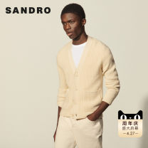 T-shirt / sweater SANDRO other Light brown XL L M S XXL XS Cardigan V-neck Long sleeves SHPTR00208-1 Wool 69% pan 31% Spring 2021 Same model in shopping mall (sold online and offline)