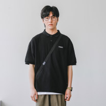 Polo shirt Other / other Youth fashion routine Gray, black M,L,XL,2XL easy Other leisure summer Short sleeve J-210223-P1902 tide routine youth 2021 Cotton polyester No iron treatment