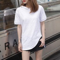 T-shirt White, taro purple S,M,L,XL,2XL Summer 2021 Short sleeve Hood easy Medium length routine commute cotton 96% and above 18-24 years old Korean version youth Solid color Cotton of cotton EY-F0534 Arc design, 100% cotton, original design