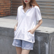 T-shirt White, taro purple S,M,L,XL,2XL Summer 2021 Short sleeve Hood easy Regular routine commute cotton 96% and above 18-24 years old Korean version youth Solid color Cotton of cotton EY-F0555 Pocket, fashionable arc line, 100% cotton, original design