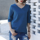 T-shirt Blue, white S,M,L,XL,2XL Spring 2021 elbow sleeve V-neck easy Regular routine commute cotton 96% and above 18-24 years old Korean version youth Solid color Cotton of cotton EY-F0065 Split, original design