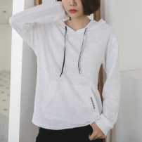 T-shirt white S,M,L,XL,2XL Spring 2021 Long sleeves Hood easy Medium length routine commute cotton 96% and above 18-24 years old Korean version youth Letters, solid color Cotton of cotton EY-F0318 Pocket, embroidery, backless