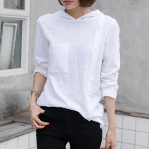 T-shirt white S,M,L,XL,2XL Spring 2021 Long sleeves Hood easy Regular routine commute cotton 96% and above 18-24 years old Korean version originality Solid color EY-F0182 Pocket, button, original design