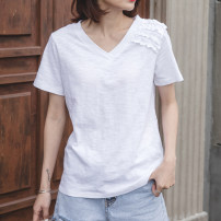T-shirt white S,M,L,XL,2XL Summer 2021 Short sleeve V-neck easy Regular routine commute cotton 96% and above 18-24 years old Korean version youth Cotton of cotton EY-F0288 Lace at shoulder, original design