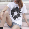 T-shirt White, taro purple S,M,L,XL,2XL Summer 2021 Short sleeve Hood easy Regular routine commute cotton 96% and above 18-24 years old Korean version youth Geometric pattern Cotton of cotton EY-F0543 Printed, fashionable Daisy, 100% cotton, original design