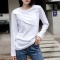 T-shirt white S,M,L,XL,2XL Spring 2021 Long sleeves Crew neck easy Regular routine commute cotton 96% and above 18-24 years old Korean version youth Solid color Cotton of cotton EY-F0334H Pleating, wrinkling process, original design