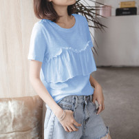 T-shirt Light blue, white, cherry powder, white coffee S,M,L,XL,2XL Summer 2021 Short sleeve Crew neck easy Regular routine commute cotton 96% and above 18-24 years old Korean version youth Solid color Cotton of cotton EY-F0279T Ruffle, fashion original design, 100% cotton