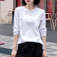 T-shirt white S,M,L,XL,2XL Spring 2021 Long sleeves Crew neck easy Medium length routine commute cotton 96% and above 18-24 years old Korean version youth Solid color Cotton of cotton EY-F0341H Pocket, pleat, button, hem split, back fold, original design