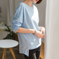 T-shirt Sky blue, white S,M,L,XL,2XL Spring 2021 Long sleeves Crew neck easy Medium length routine commute cotton 96% and above 18-24 years old Korean version youth Solid color Cotton of cotton EY-F0130 Original design, long front and back sleeves