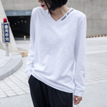 T-shirt white S,M,L,XL,2XL Spring 2021 Long sleeves V-neck easy Regular routine commute cotton 96% and above 18-24 years old Korean version youth Letters, solid color Cotton of cotton EY-F0345H Embroidery, original design