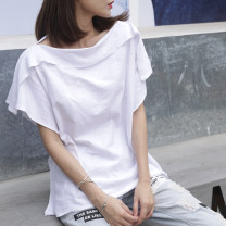 T-shirt white S,M,L,XL,2XL Summer 2021 Short sleeve One word collar easy Regular Lotus leaf sleeve commute cotton 96% and above 18-24 years old Korean version youth Solid color, stitching Cotton of cotton EY-F0502 Stitching, ruffle, patching, original design, 100% cotton