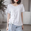 T-shirt white S,M,L,XL,2XL Summer 2021 Short sleeve Crew neck easy Regular routine commute cotton 96% and above 18-24 years old Korean version youth Solid color Cotton of cotton EY-F0284 Ruffle, original design
