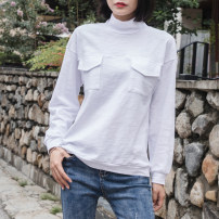T-shirt white S,M,L,XL,2XL Spring 2021 Long sleeves High collar easy Regular routine commute cotton 96% and above 18-24 years old Korean version youth Solid color Cotton of cotton EY-F0351H Pocket, original design