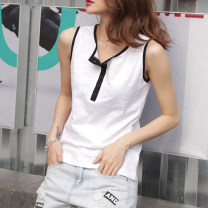 T-shirt white S,M,L,XL,2XL Summer 2021 Sleeveless V-neck Self cultivation Regular routine commute cotton 96% and above 18-24 years old Korean version youth Solid color Cotton of cotton EY-F0519 Original design, 100% cotton