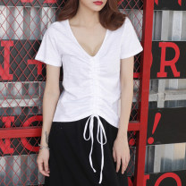T-shirt white S,M,L,XL,2XL Summer 2021 Short sleeve V-neck easy Regular routine commute cotton 96% and above 18-24 years old Korean version youth Solid color Cotton of cotton EY-F0521 Pleated, 100% cotton, original design