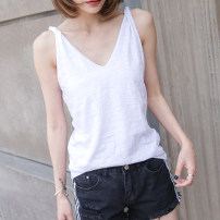 T-shirt white S,M,L,XL,2XL Summer 2021 Sleeveless V-neck easy Regular routine commute cotton 96% and above 18-24 years old Korean version love Solid color Cotton of cotton EY-F0258 Curling sling, original design