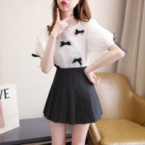 Fashion suit Summer 2021 S,M,L,XL White top + black skirt, blue top + white skirt, white top, blue top, black skirt, white skirt 31% (inclusive) - 50% (inclusive) cotton