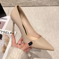 Low top shoes 34,35,36,37,38,39,40 NO.55 Shoes Sharp point PU Fine heel Super high heel (over 8cm) Shallow mouth PU Spring 2021 Trochanter Korean version Adhesive shoes Youth (18-40 years old) Solid color rubber Single shoes Shallow mouth PU daily Face dressing