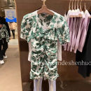 Dress Summer 2021 Green printing, purple printing S,M,L Short skirt singleton  Short sleeve Sweet V-neck High waist Decor Single breasted routine Hanging neck style 18-24 years old URAX More than 95% cotton
