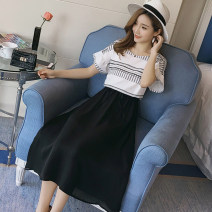 Dress Pregnant and happy M,L,XL,XXL Korean version Short sleeve have more cash than can be accounted for summer Crew neck Decor Chiffon