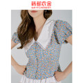 Lace / Chiffon Summer 2020 blue S,M,L Short sleeve commute Cardigan Fake two pieces Self cultivation Regular Decor puff sleeve 18-24 years old Hstyle / handu clothing house RE5189 Stitching, broken flowers Korean version 96% and above polyester fiber