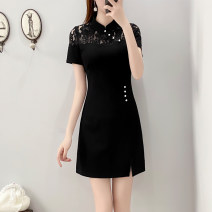 Women's large Summer 2021 black Dress singleton  commute Self cultivation thin Socket Short sleeve Solid color Korean version square neck Medium length Cotton, others Three dimensional cutting routine Yueshangxin 25-29 years old Lace stitching Medium length