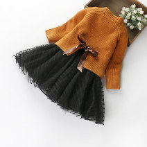 Dress female Other / other Cashmere (cashmere) 80% cotton 20% winter Korean version Long sleeves Solid color cotton Splicing style Class B 2 years old, 3 years old, 4 years old, 5 years old, 6 years old, 7 years old