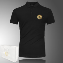 Polo shirt Versace collection Youth fashion routine Self cultivation business affairs summer Short sleeve Simplicity in Europe and America routine Large size Cotton 95% polyurethane elastic fiber (spandex) 5% 2020 No iron treatment Hot stamping
