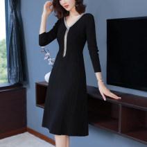 Dress Autumn 2020 Black, apricot, blue S,M,L,XL,2XL,3XL Mid length dress singleton  Long sleeves commute V-neck High waist Socket A-line skirt routine Others Type A Korean version 51% (inclusive) - 70% (inclusive) knitting wool