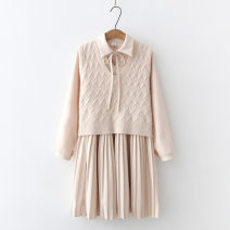 Dress Spring 2021 Red, beige Average size longuette Two piece set Long sleeves commute Polo collar High waist Solid color Socket Pleated skirt routine 25-29 years old Type H Other / other Lace up, stitching 51% (inclusive) - 70% (inclusive) knitting polyester fiber
