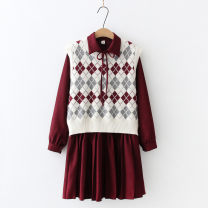 Dress Spring 2021 Red, black Average size longuette Two piece set Long sleeves commute Polo collar High waist lattice Socket A-line skirt routine 25-29 years old Type A Other / other Korean version Lace up, stitching 31% (inclusive) - 50% (inclusive) polyester fiber