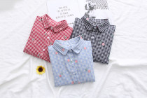 shirt Lapel blue Lapel red Lapel black stand collar blue stand collar red stand collar black S M L XL Spring of 2018 cotton 96% and above Long sleeves commute Polo collar Single row multi button routine lattice 18-24 years old Straight cylinder Other / other Korean version Embroidered button