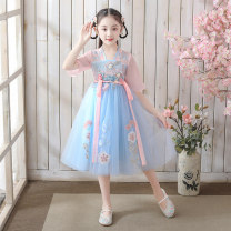 Dress female Other / other 110cm,120cm,130cm,140cm,150cm,160cm Polyester 100% summer princess Short sleeve Broken flowers Chiffon A-line skirt Class A