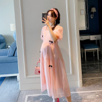 Dress STYLE MOMMY Pink M,L,XL Original design Short sleeve Medium length summer Crew neck Solid color Chiffon HTY0485