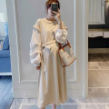 Dress STYLE MOMMY Apricot S,M,L,XL Original design Long sleeves Medium length spring Crew neck Solid color Pure cotton (95% and above) BRE6120
