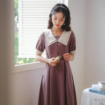 Dress Summer 2021 Gray, violet, black, caramel S,M,L Mid length dress singleton  Short sleeve commute Admiral High waist Solid color Socket A-line skirt routine Others 18-24 years old Type A Retro Button, stitching, strap 31% (inclusive) - 50% (inclusive) other other