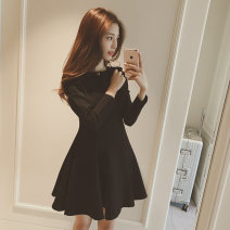 Dress Autumn of 2019 Black, red M,L,XL,2XL,3XL Middle-skirt singleton  Long sleeves commute Crew neck middle-waisted Solid color zipper Big swing routine Others Type A Korean version Splicing other polyester fiber