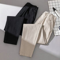 Women's large Summer of 2019, spring of 2019 Black, Khaki trousers commute moderate Solid color Korean version Cotton, others Three dimensional cutting 25-29 years old Three dimensional decoration Ninth pants