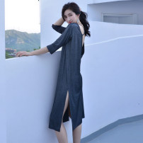 Nightdress Shengfen Mysterious black, temperament blue, brick red, smoke pink 155(S),160(M),165(L),170(XL) sexy Middle sleeve pajamas longuette summer Solid color youth Crew neck cotton One piece More than 95% Modal fabric 200g and below