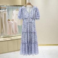 Dress Summer 2021 Pink, purple, blue, yellow S,M,L longuette singleton  Short sleeve commute V-neck Broken flowers 25-29 years old 1E2213 More than 95% other other
