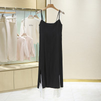Dress Spring 2021 black and white S, M longuette singleton  Sleeveless commute High waist Solid color Socket A-line skirt routine camisole 25-29 years old Type A 1B1099