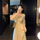Dress Summer 2020 Bohemian champagne S,M,L,XL longuette singleton  three quarter sleeve commute V-neck High waist Solid color zipper Big swing routine Type A Korean version