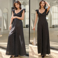 Jumpsuit / pants 31% (inclusive) - 50% (inclusive) trousers Cotton blended fabric High waist commute Black background, white dots, egg yolk, bean green S,M,L,XL Thin money Summer 2020 Wide leg pants ZB0032 Yan Rong Fold, Ruffle Same model in shopping mall (sold online and offline)