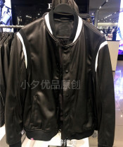 leather clothing Fashion City Other Imitation leather clothes have cash less than that is registered in the accounts Baseball collar spring Slim zipper leisure time youth tide Rib hem Side seam pocket Rib bottom pendulum Non iron treatment black S,M,L,XL,2XL