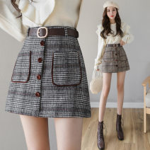 skirt Autumn 2020 S,M,L,XL,2XL Hagrid. Hagrid Short skirt Versatile High waist A-line skirt lattice Type A 18-24 years old other Other / other other