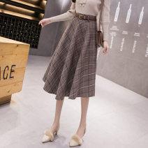 skirt Autumn 2020 S,M,L,XL,XXL Grey, gag longuette commute High waist Umbrella skirt lattice 25-29 years old D5242 Wool Other / other Zipper, stitching