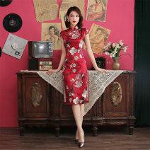 cheongsam Spring of 2018 XXL,XXXL,M,L,XL Red, black Short sleeve Short cheongsam ethnic style daily silk
