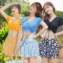 Split swimsuit Baiya Sky blue, yellow, black M [75-95 Jin], l [95-105 Jin], XL [105-130 Jin] Skirt split swimsuit With chest pad without steel support polyester fiber M-038830 female V-neck
