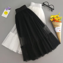 skirt 100cm, 110cm, 120cm, 130cm, 140cm, 150cm, 160cm, l mom, XL mom White, black Other / other female Cotton 90% other 10% summer skirt Solid color Pleats other