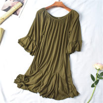 Dress Summer 2021 1 army green, 2 beige, 3 orange red, 4 black S,3XL,4XL Mid length dress singleton  Short sleeve commute One word collar Ruffle Skirt 25-29 years old World works lady 31% (inclusive) - 50% (inclusive)